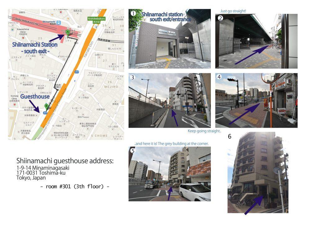 Shiinamachi guesthouse map